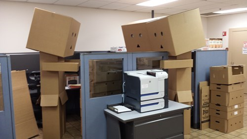 monday thru friday,cubicle prank,box,cardboard box,prank,cubicle