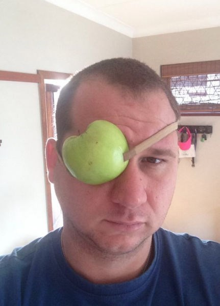 poorly dressed,eye patch,puns,apple,g rated