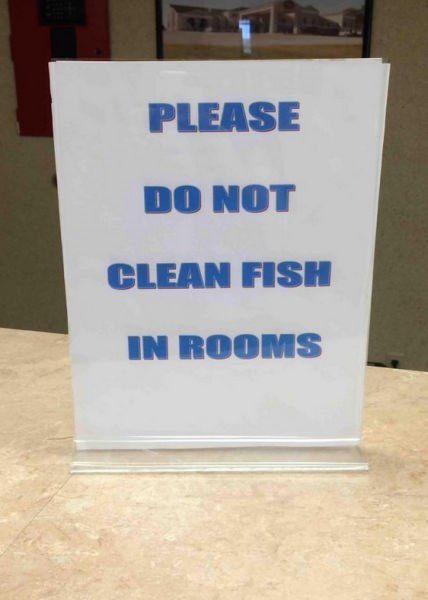 monday thru friday,sign,hotel,fish