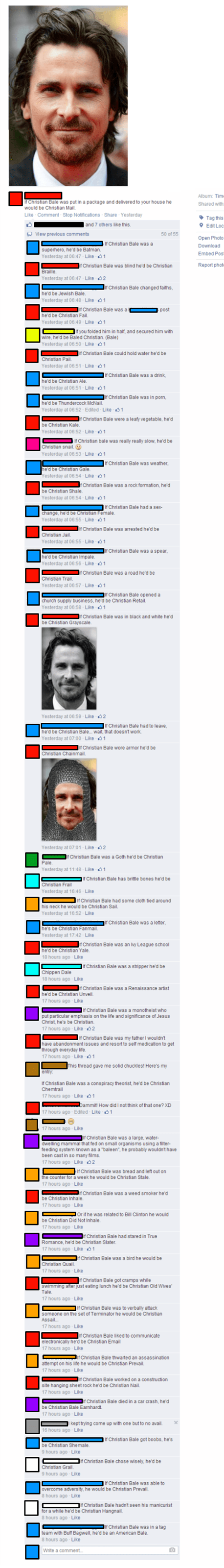 christian bale facebook comments