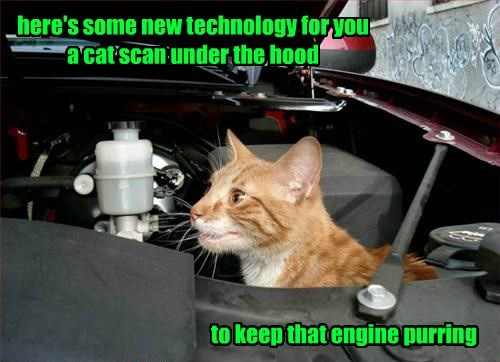 here's some new technology for you a cat scan under the hood to keep that engine purring