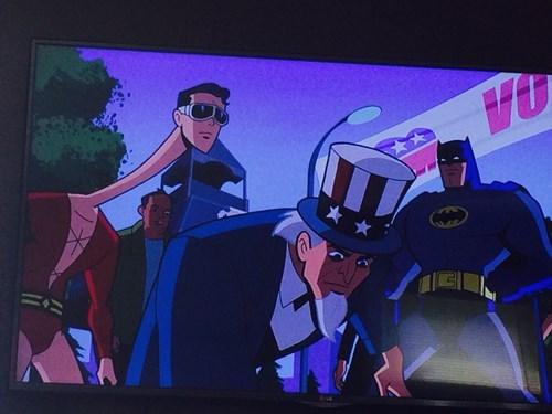 wtf cartoons superheroes batman Uncle Sam - 8283951104