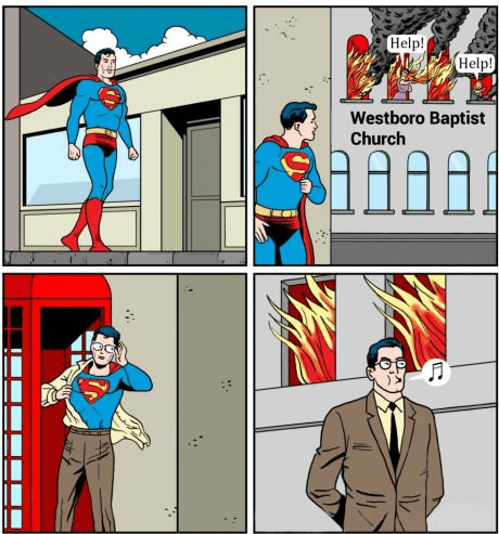 Westboro Baptist Church,jerks,superheroes,superman,web comics