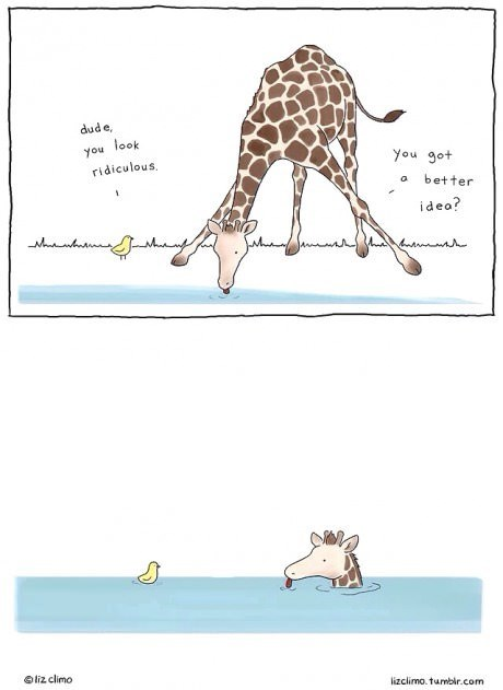 drinking ducks critters giraffes web comics