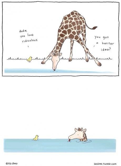 drinking ducks critters giraffes web comics - 8284619008