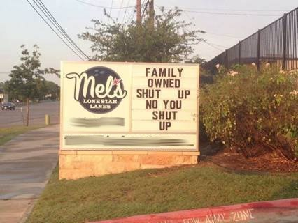monday thru friday,sign,sibling rivalry,siblings,parenting,bowling,bowling alley