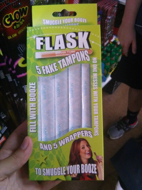booze flask tampons funny after 12