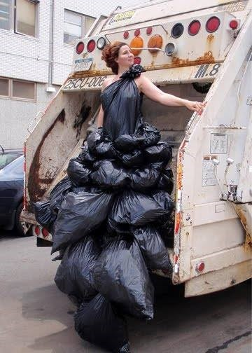 art,poorly dressed,dress,garbage bags