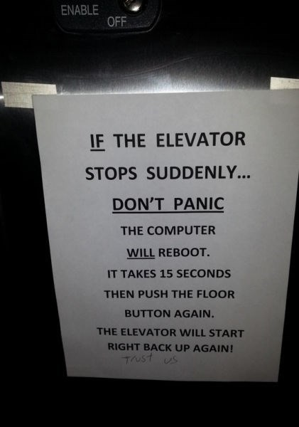 monday thru friday warning sign elevator - 8285725952