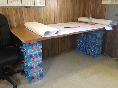 monday thru friday furniture desk bottled water there I fixed it - 8285760000
