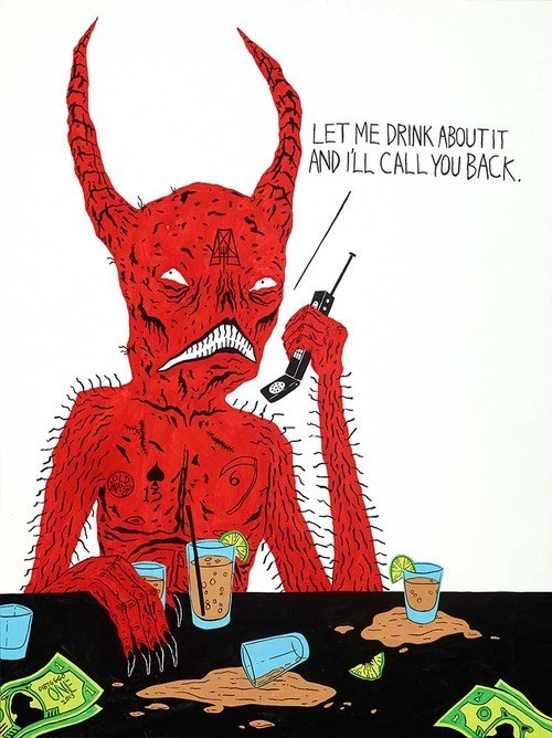 drinking art the internets thinking devil funny - 8285771264