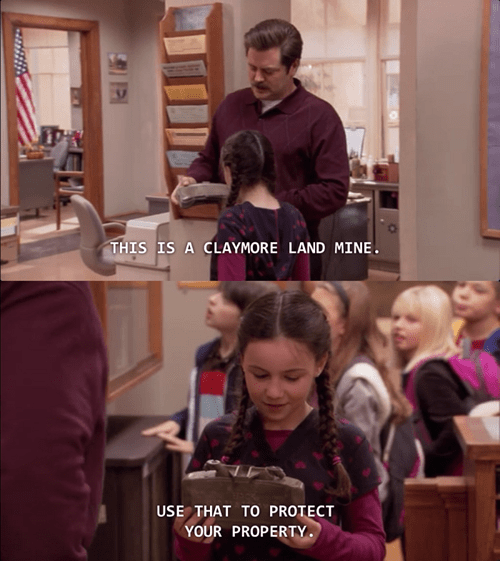 parks and recreation,ron swanson,land mine,dangerous,funny