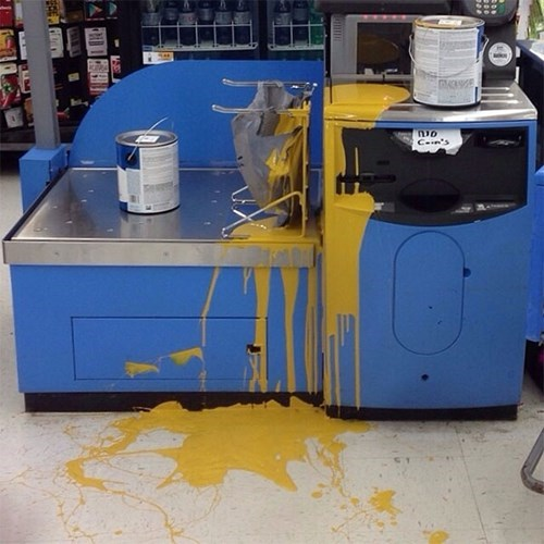 monday thru friday self checkout retail paint spill mess