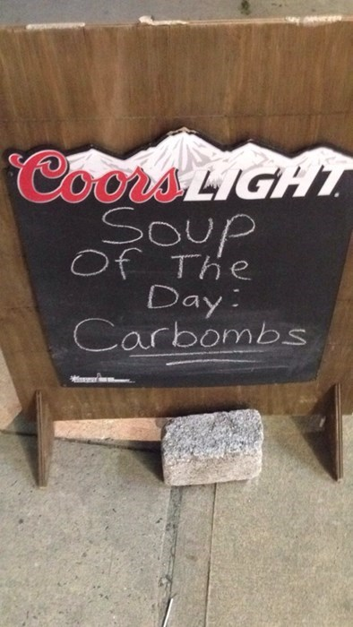 wtf,bad idea,carbombs,pub,funny,soup of the day