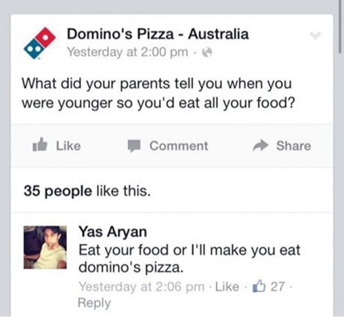 dominos pizza dominos facebook burn - 8286594304