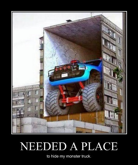 wtf monster truck funny parking - 8286636544