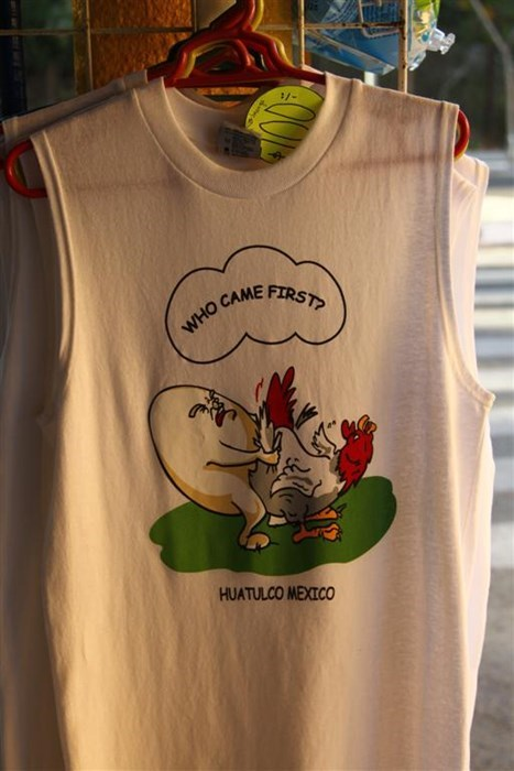 jokes,poorly dressed,chicken or egg,tank top,souvenir