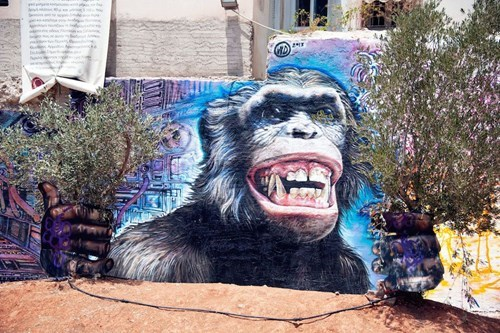 Street Art chimp hacked irl - 8286821376