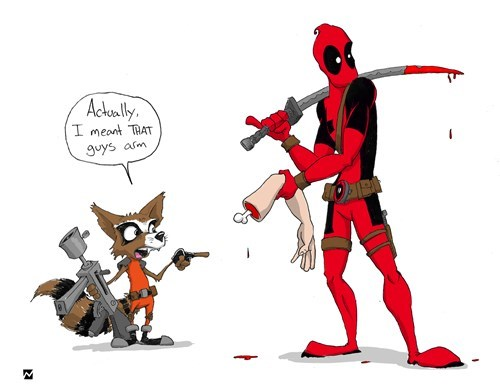 deadpool rocket raccoon Fan Art - 8287856896