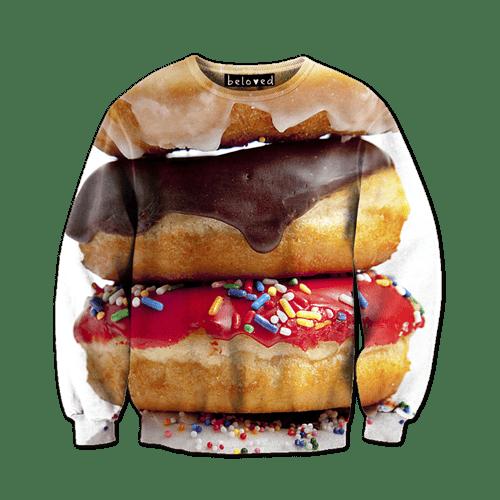 doughnuts,donuts,poorly dressed,sweatshirt