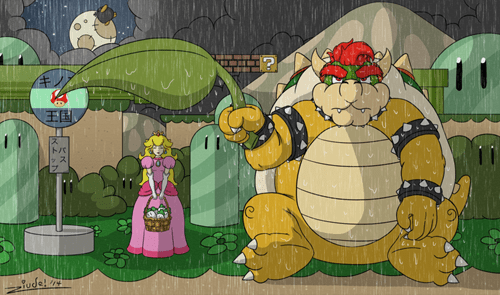 Fan Art,princess peach,bowser,my neighbor totoro