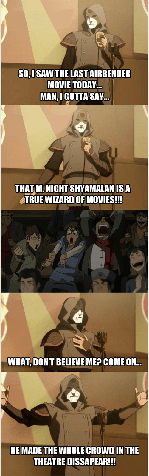m night shyamalan,Avatar the Last Airbender,cartoons,Avatar,bad joke Amon,korra