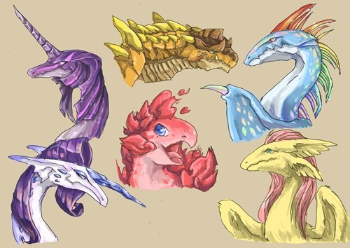 Fan Art,mane 6,dragons