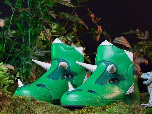 kickstarter shoes poorly dressed puns sneakers triceratops dinosaurs
