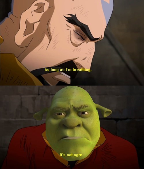 crossover,tenzin,cartoons,Avatar,shrek,korra