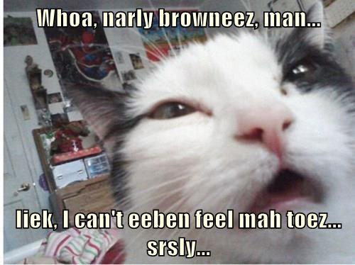 Whoa, narly browneez, man...  liek, I can't eeben feel mah toez... srsly...