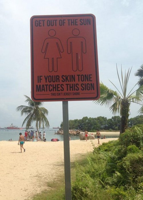 sign,jersey shore,poorly dressed,beach,tanning,g rated