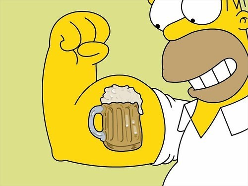 homer simpson beer spinach popeye the simpsons funny - 8291485184