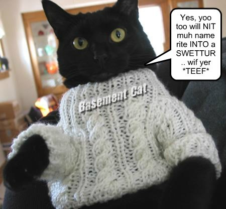 Basement Cat Yes, yoo too will NIT muh name rite INTO a SWETTUR.. wif yer *TEEF*