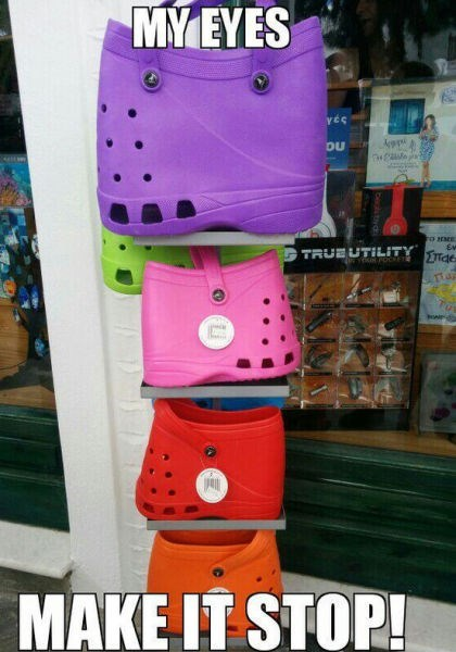 shoes purse poorly dressed crocs my eyes