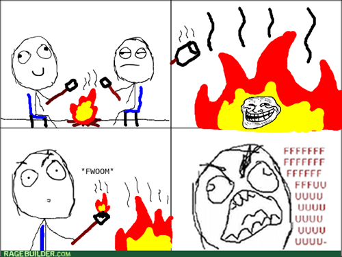 rage,marshmallows,fire