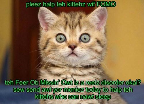 pleez halp teh kittehz wif FOMO teh Feer Ob Missin' Owt iz a reelz disorder okai? sew send awl yor moniez today to halp teh kittehs who can nawt sleep