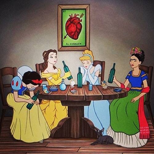 frida kahlo,drunk,disney princesses,wine,funny