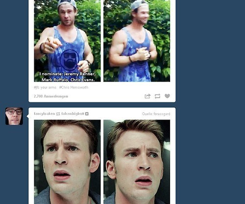 Thor tumblr captain america juxtaposition coincidence chris evans chris hemsworth - 8293100544