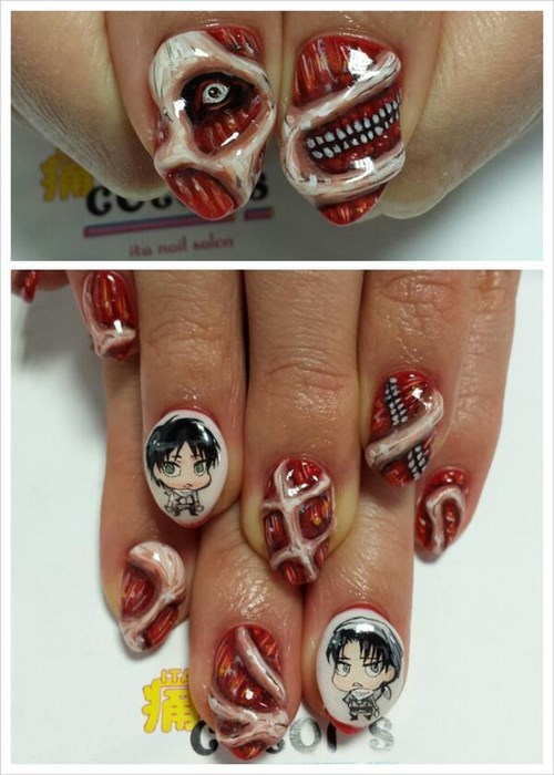 anime attack on titan nail art - 8294020864