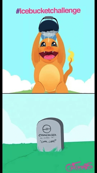 Sad,charmander,ice bucket challenge,grave