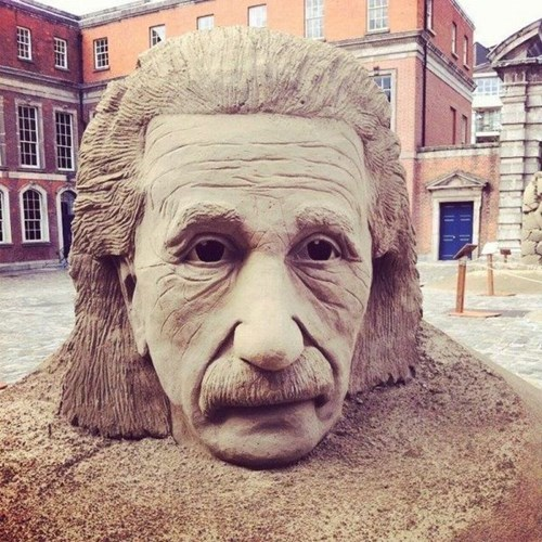 sculpture,beach,albert einstein