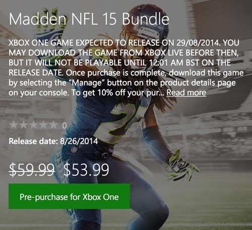 pre-purchase madden 15 xbox one Video Game Coverage - 8294903296