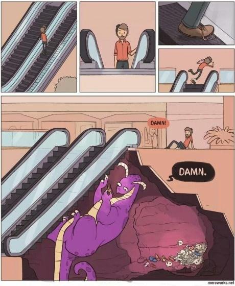 escalator dragons web comics - 8294919424