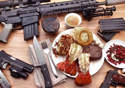 jesus,guns,breakfast,food