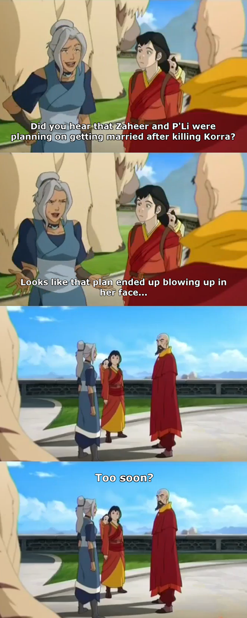 too soon kya legend of korra bad joke kya