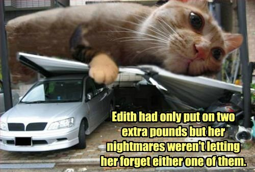 Edith had only put on two extra pounds but her nightmares weren't letting her forget either one of them.