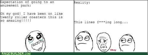 expectations vs reality amusement park line Okay