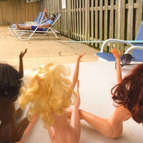Sexy Ladies Barbie summer pool funny - 8298118144