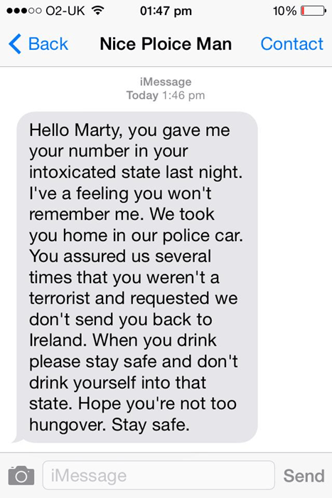 cops drunk text blackout funny police - 8300775168