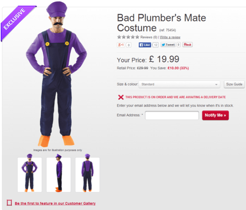 costume waluigi bad plumber's mate - 8300967424